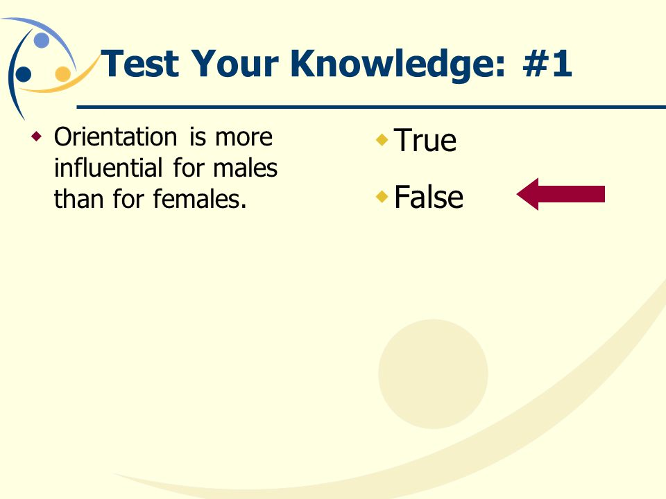 Test Your Knowledge: #1  Orientation is more influential for males than for females.