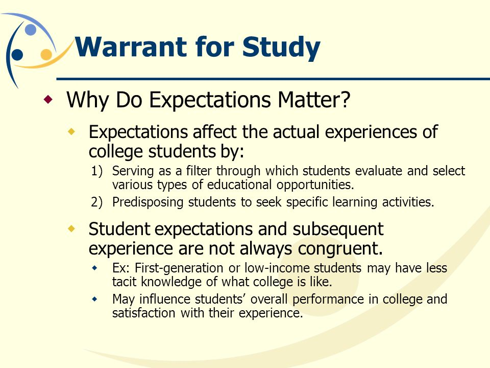 Warrant for Study  Why Do Expectations Matter.