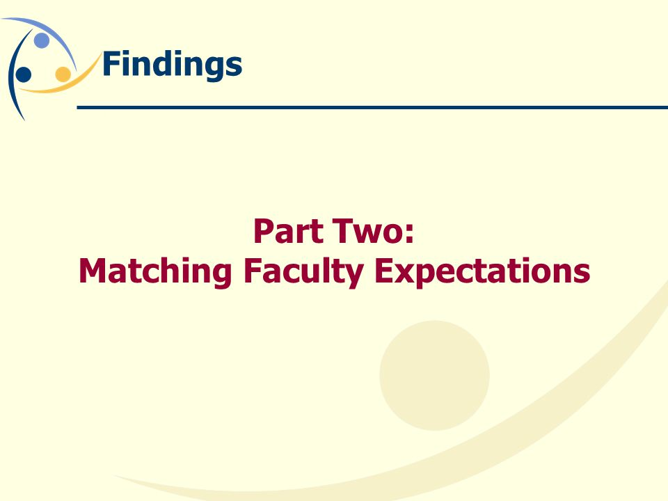 Findings Part Two: Matching Faculty Expectations
