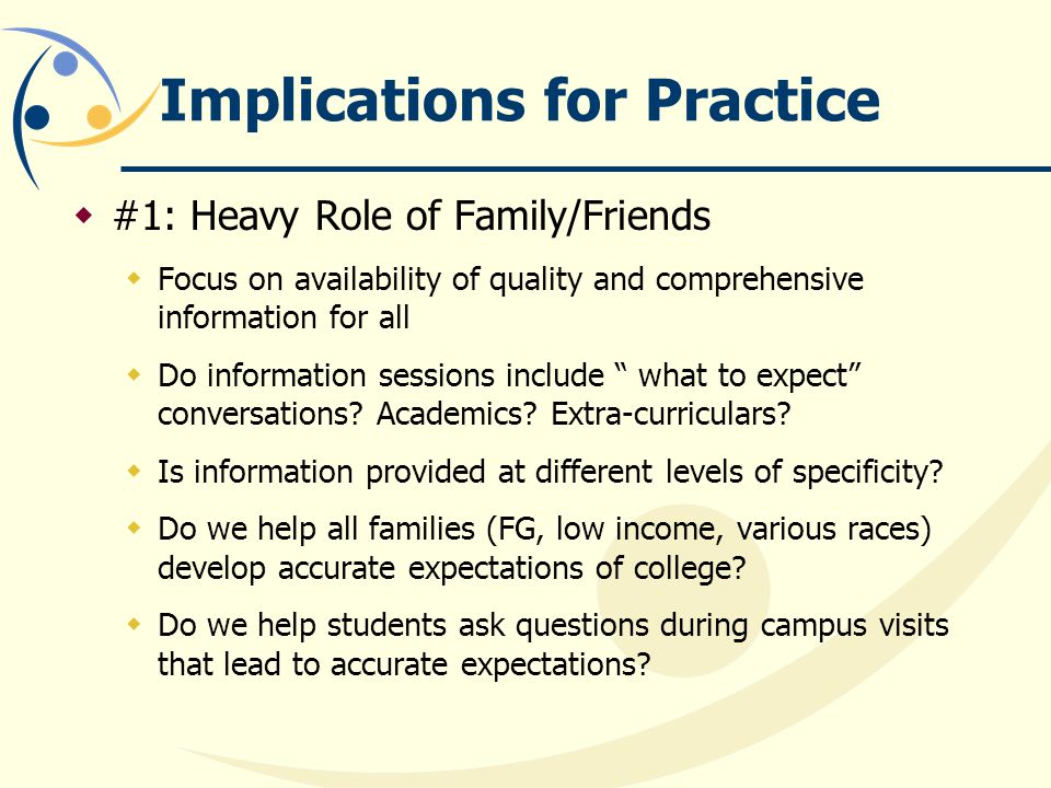 Implications for Practice  #1: Heavy Role of Family/Friends  Focus on availability of quality and comprehensive information for all  Do information sessions include what to expect conversations.