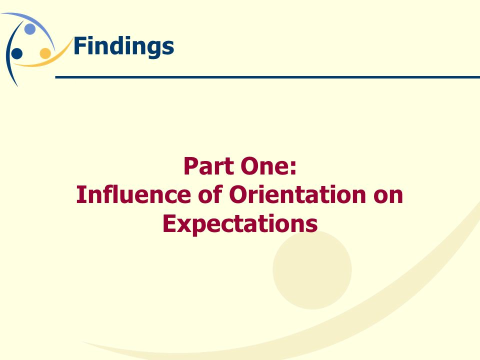 Findings Part One: Influence of Orientation on Expectations