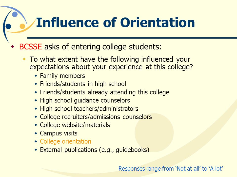 Influence of Orientation  BCSSE asks of entering college students:  To what extent have the following influenced your expectations about your experience at this college.