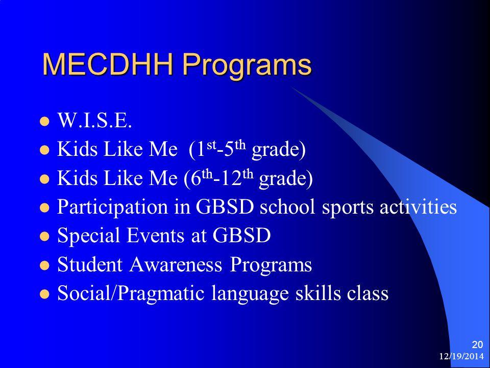 12/19/2014 20 MECDHH Programs W.I.S.E.