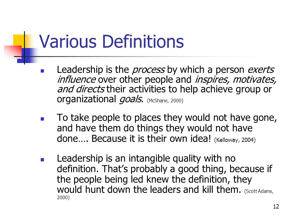 12 Various Definitions Leadership is the process by which a person exerts influence over other people and inspires, motivates, and directs their activities to help achieve group or organizational goals.