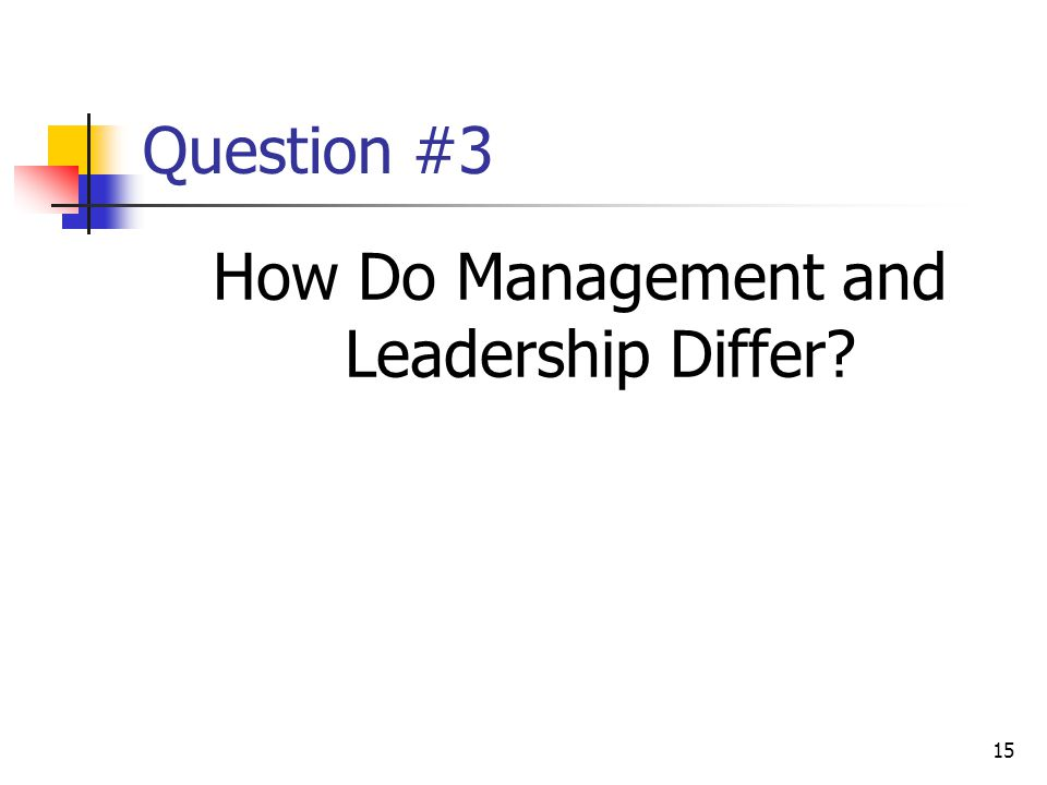15 Question #3 How Do Management and Leadership Differ
