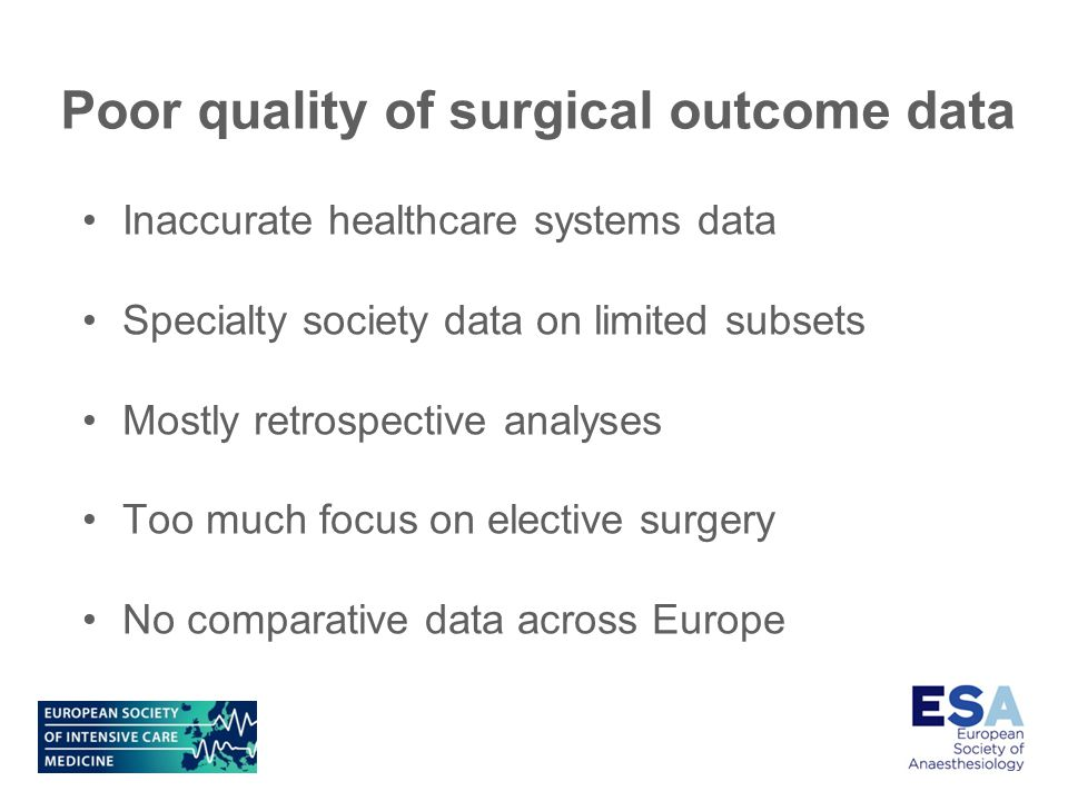 Poor quality of surgical outcome data Inaccurate healthcare systems data Specialty society data on limited subsets Mostly retrospective analyses Too much focus on elective surgery No comparative data across Europe
