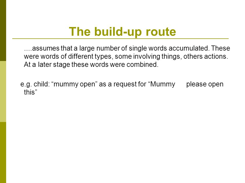 The build-up route....assumes that a large number of single words accumulated.