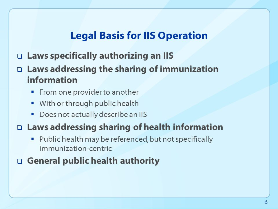 7 Legal Basis for IIS Operation, 2012