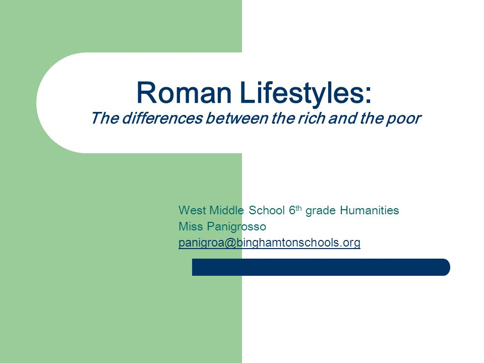 Roman Lifestyles: The differences between the rich and the poor West Middle School 6 th grade Humanities Miss Panigrosso panigroa@binghamtonschools.org