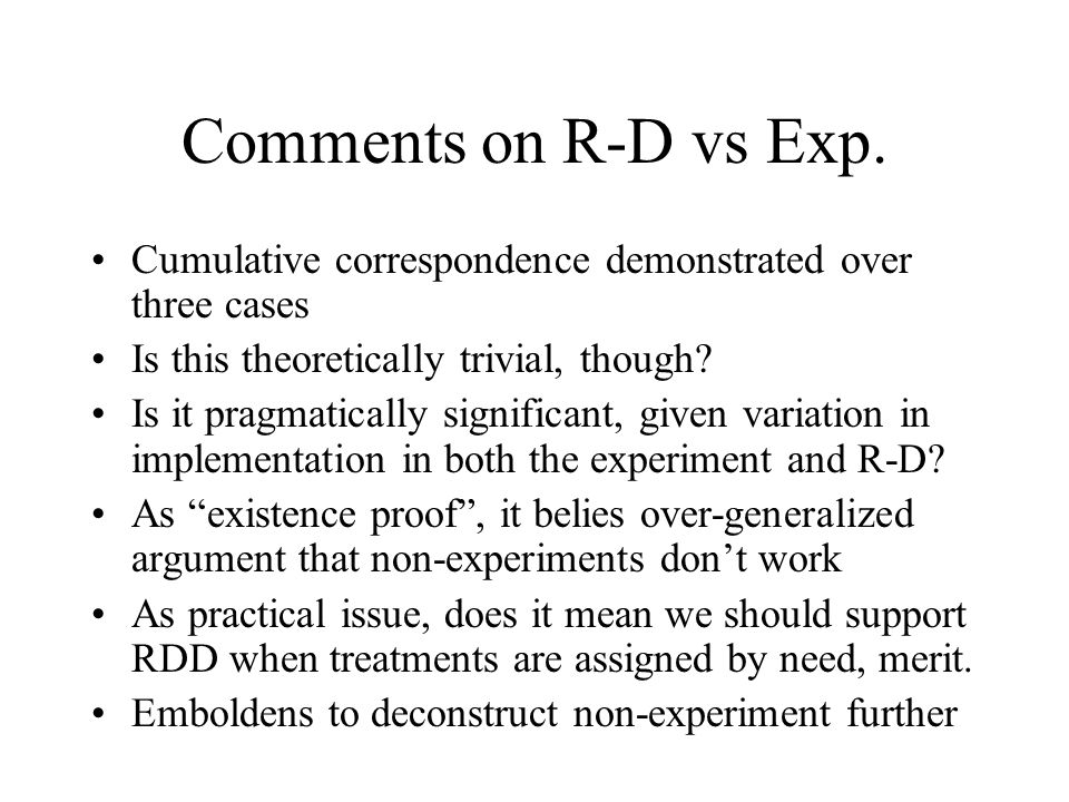 Comments on R-D vs Exp.