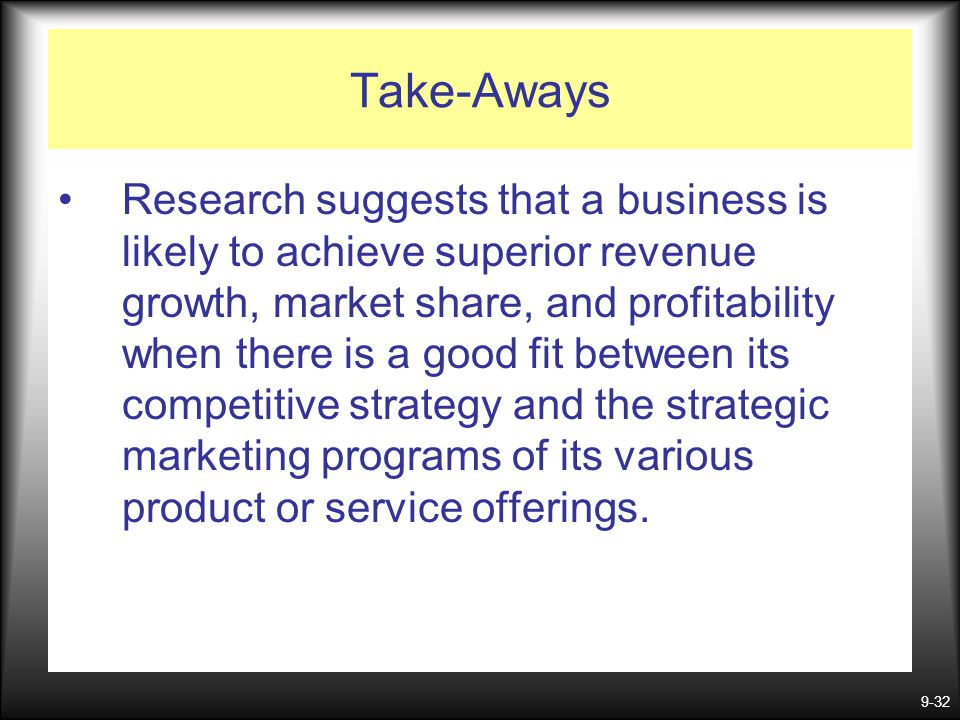 9-32 Take-Aways Research suggests that a business is likely to achieve superior revenue growth, market share, and profitability when there is a good f