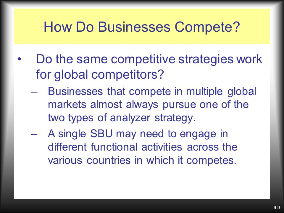 9-9 How Do Businesses Compete? Do the same competitive strategies work for global competitors? –Businesses that compete in multiple global markets alm