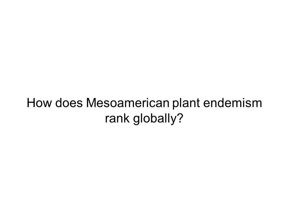 How does Mesoamerican plant endemism rank globally