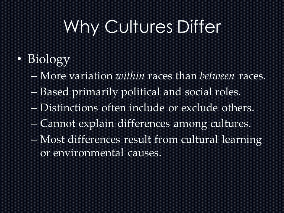 Why Cultures Differ Biology – More variation within races than between races. – Based primarily political and social roles. – Distinctions often inclu