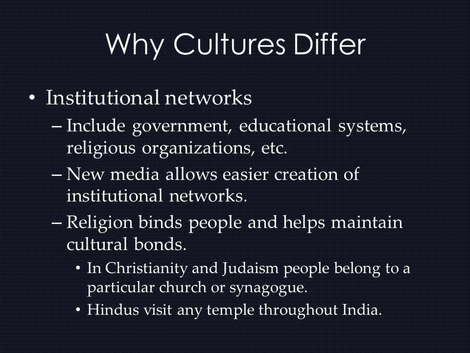 Why Cultures Differ Institutional networks – Include government, educational systems, religious organizations, etc. – New media allows easier creation