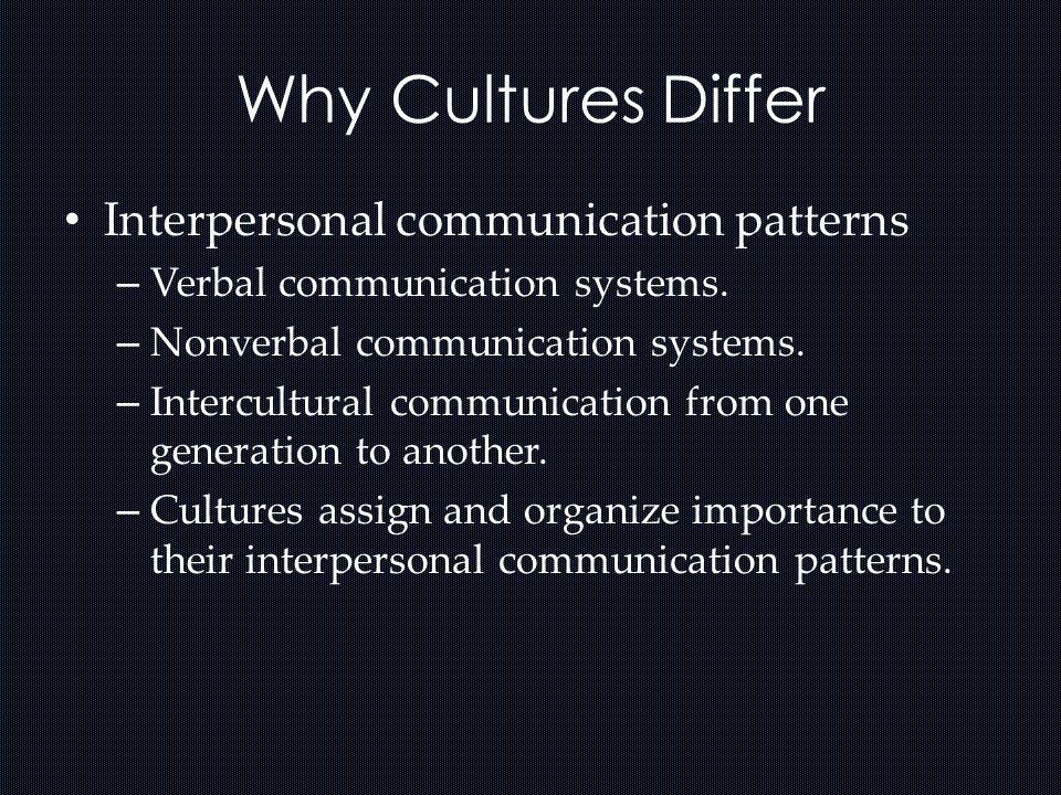 Why Cultures Differ Interpersonal communication patterns – Verbal communication systems. – Nonverbal communication systems. – Intercultural communicat
