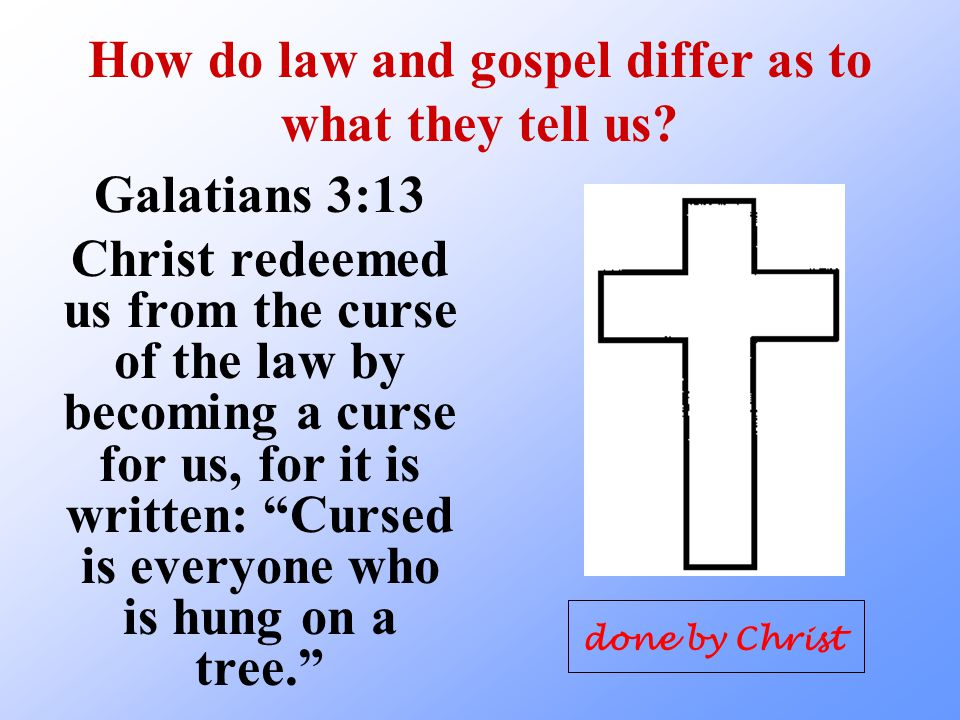 How do law and gospel differ as to what they tell us.