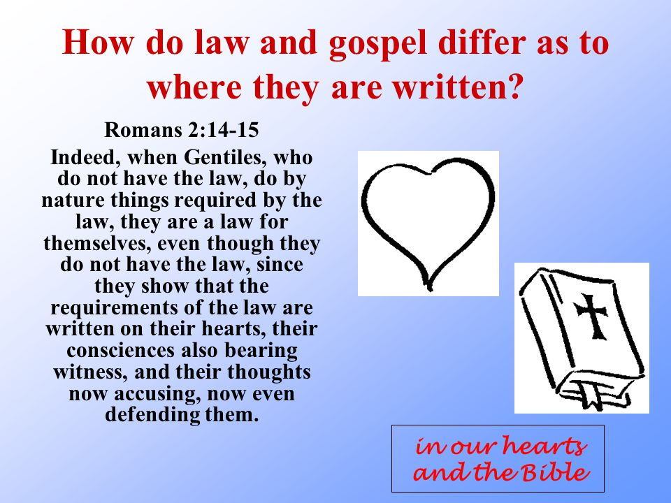How do law and gospel differ as to where they are written.