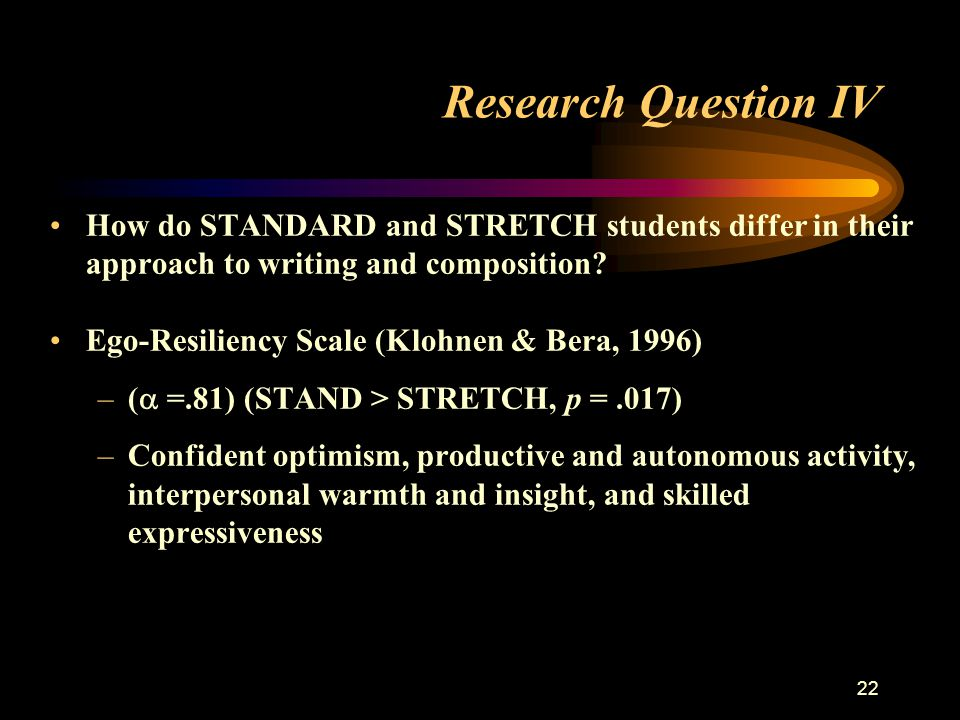 22 Research Question IV How do STANDARD and STRETCH students differ in their approach to writing and composition.