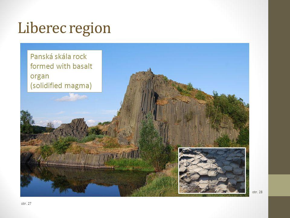 Liberec region obr. 28 obr. 27 Panská skála rock formed with basalt organ (solidified magma)