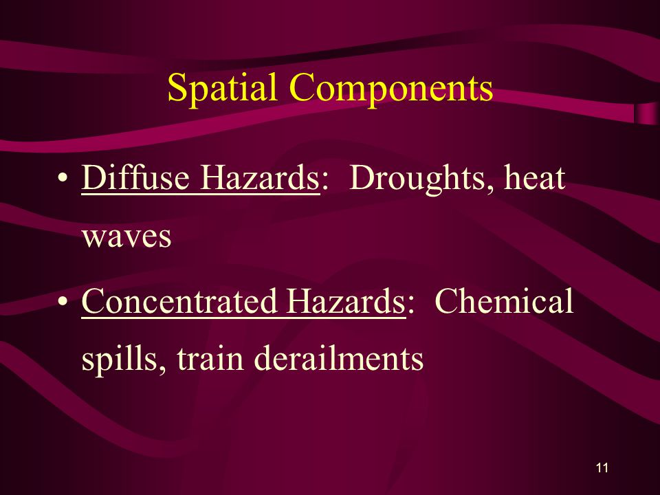 11 Spatial Components Diffuse Hazards: Droughts, heat waves Concentrated Hazards: Chemical spills, train derailments