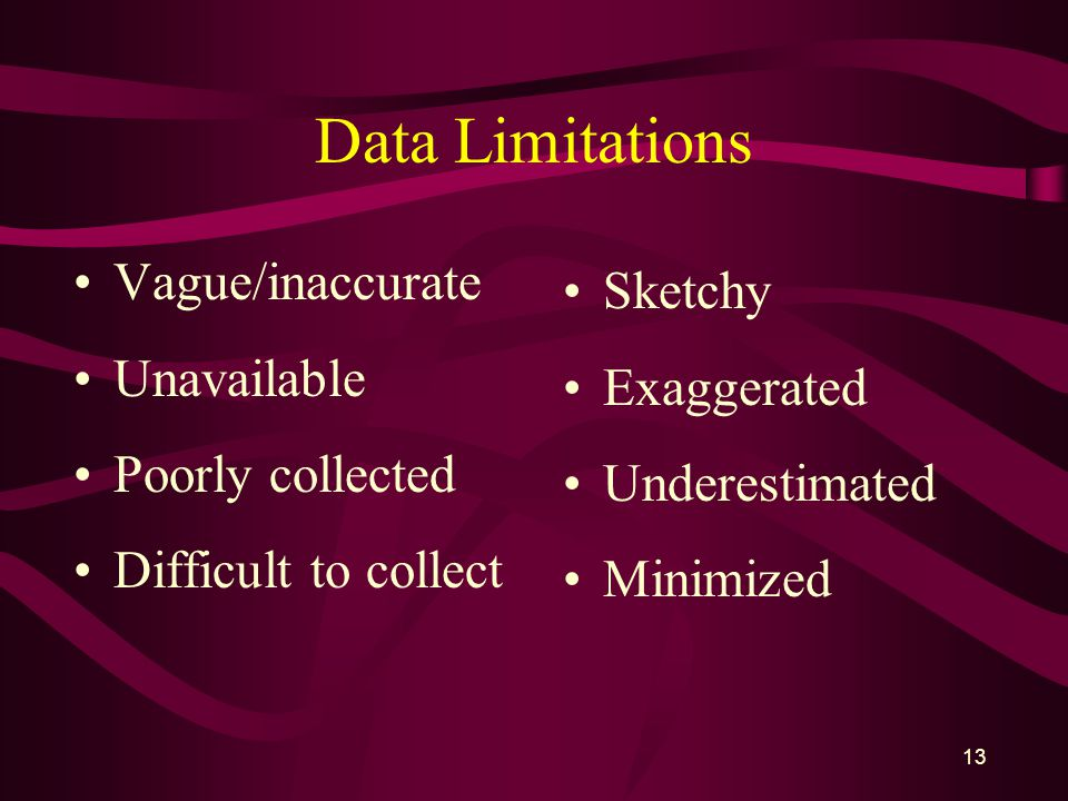 13 Data Limitations Vague/inaccurate Unavailable Poorly collected Difficult to collect Sketchy Exaggerated Underestimated Minimized