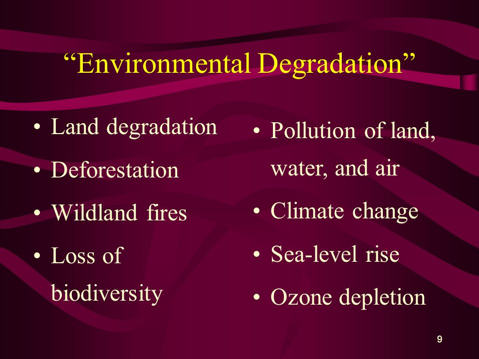 9 Environmental Degradation Land degradation Deforestation Wildland fires Loss of biodiversity Pollution of land, water, and air Climate change Sea-level rise Ozone depletion