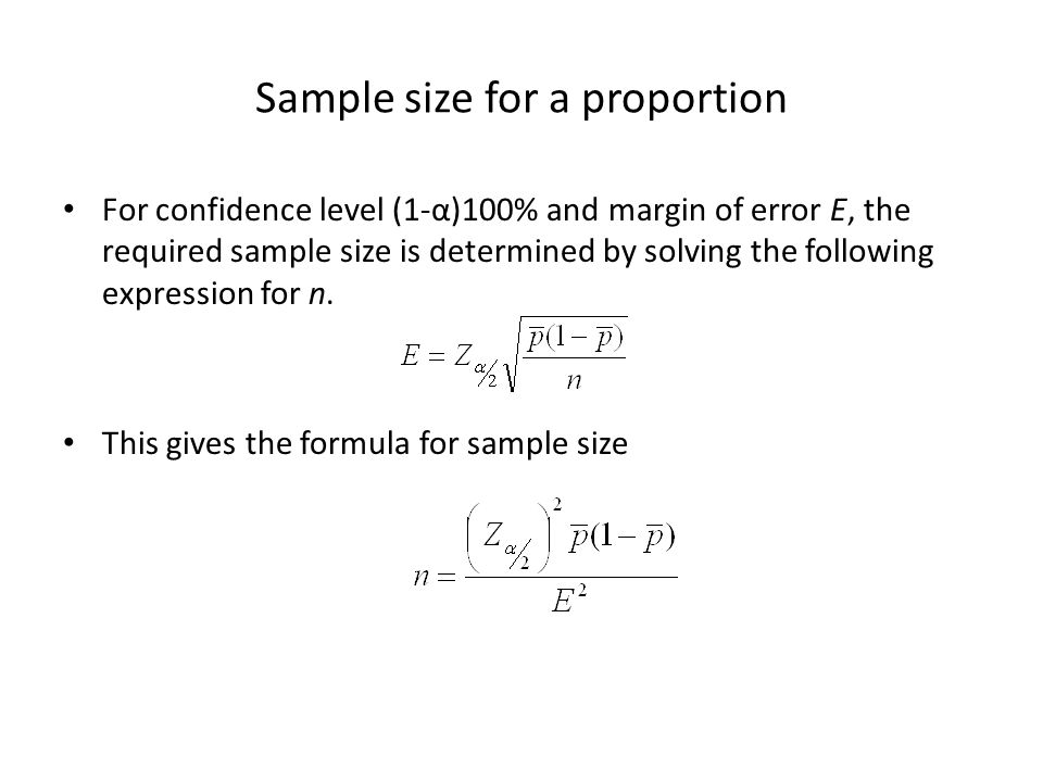 Sample size for a proportion For confidence level (1-α)100% and margin of error E, the required sample size is determined by solving the following exp