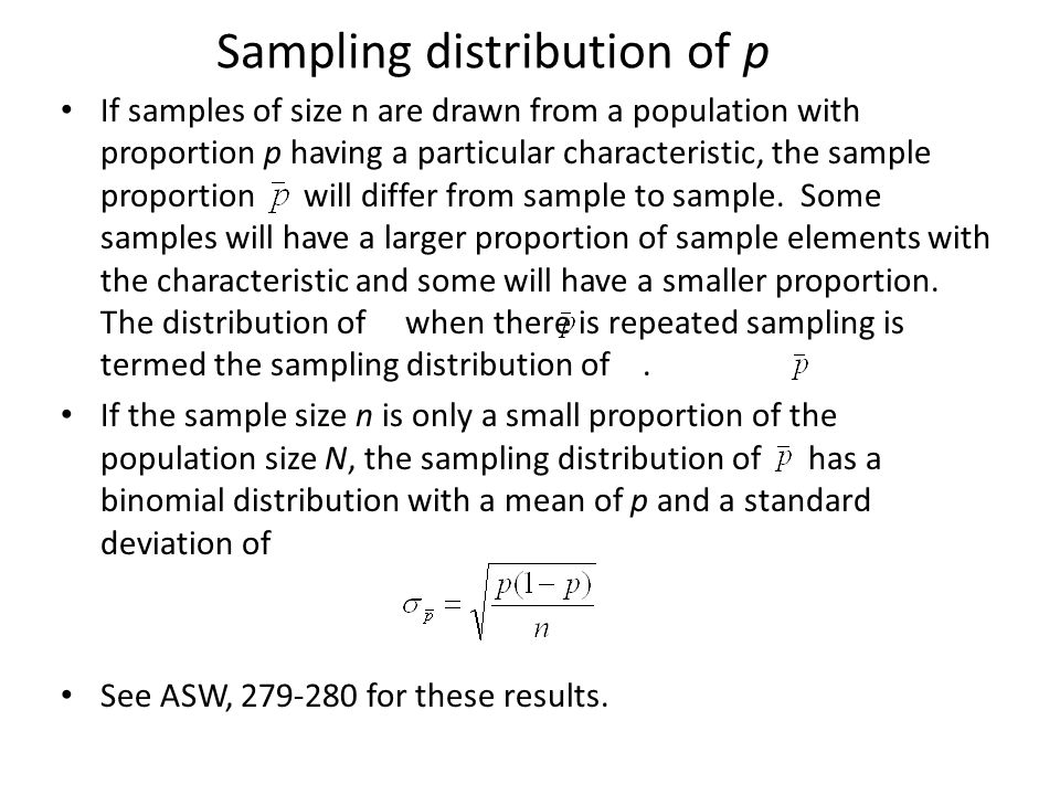 Estimating sample size In the formula for sample size required for estimating a proportion, the value of the sample proportion is unknown.
