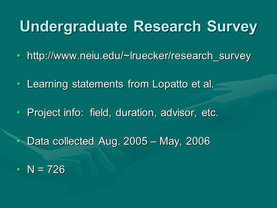 Undergraduate Research Survey http://www.neiu.edu/~lruecker/research_surveyhttp://www.neiu.edu/~lruecker/research_survey Learning statements from Lopatto et al.Learning statements from Lopatto et al.