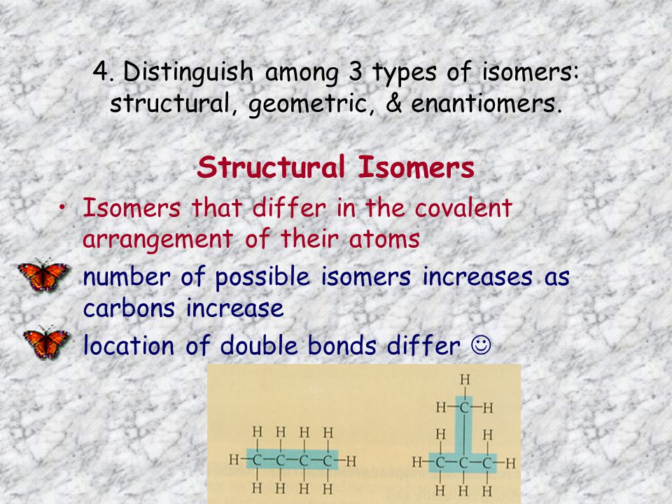 4. Distinguish among 3 types of isomers: structural, geometric, & enantiomers.