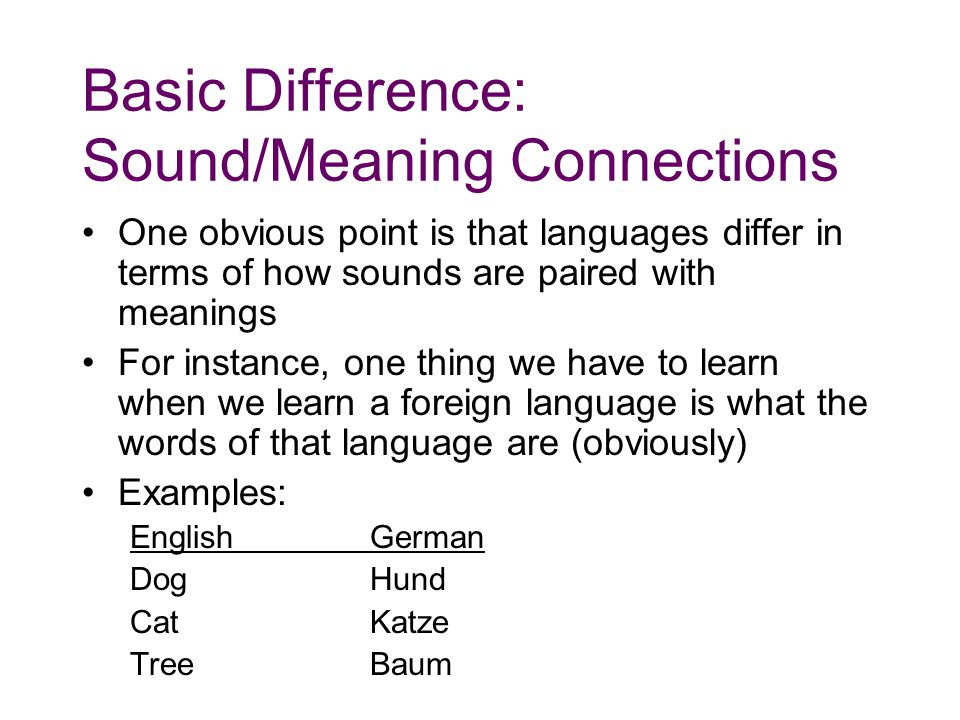 Basic Difference: Sound/Meaning Connections One obvious point is that languages differ in terms of how sounds are paired with meanings For instance, one thing we have to learn when we learn a foreign language is what the words of that language are (obviously) Examples: EnglishGerman DogHund CatKatze TreeBaum