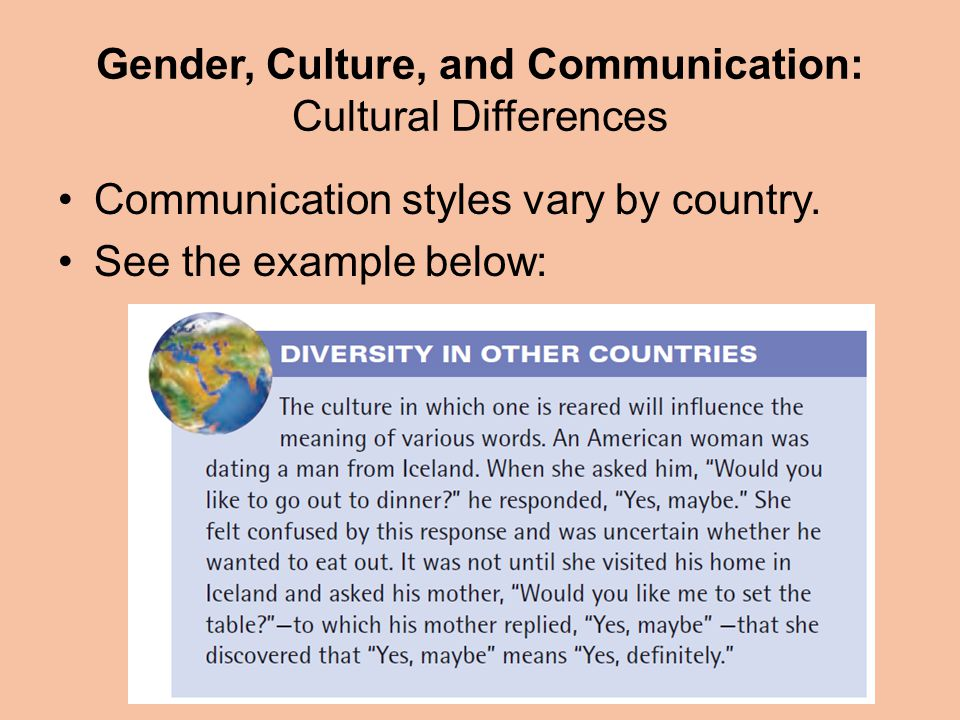 Gender, Culture, and Communication: Cultural Differences Communication styles vary by country.