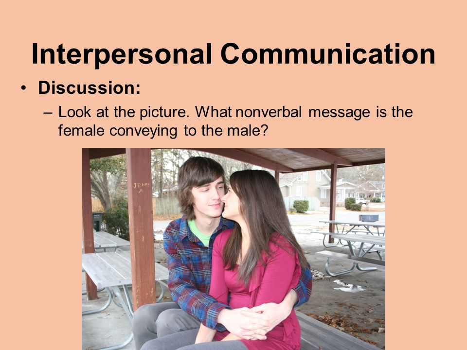 Interpersonal Communication Discussion: –Look at the picture.