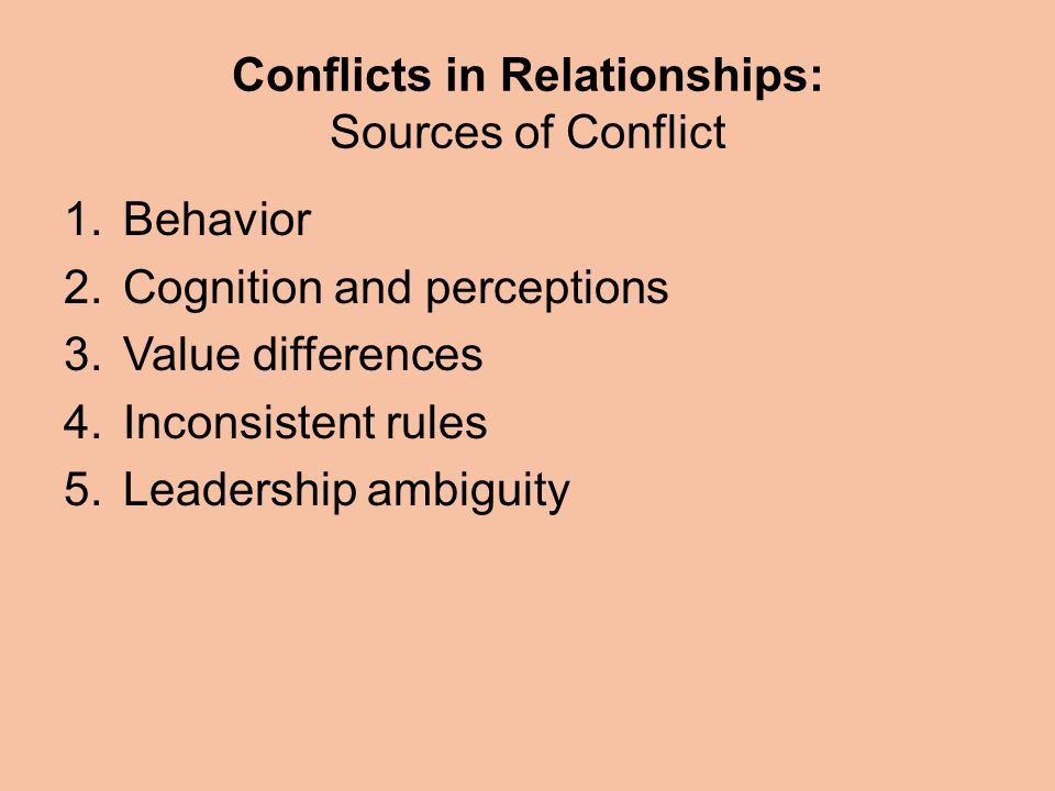 Conflicts in Relationships: Sources of Conflict 1.Behavior 2.Cognition and perceptions 3.Value differences 4.Inconsistent rules 5.Leadership ambiguity