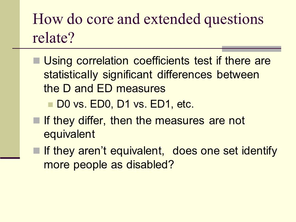 How do core and extended questions relate.