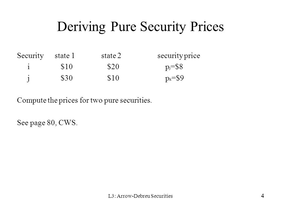 L3: Arrow-Debreu Securities 5 Determinants of the Price of a Pure Security Time preferences for consumption and the productivity of capital (p82 CWS) Expectations as to the probability that a particular state will occur given homogeneous belief: Individuals' attitudes towards risk (e.g., risk aversion), given the variability across states of aggregate end-of-period wealth –Pure security prices must be adjusted to make the state 1 security relatively expensive and the state 3 security relatively cheap (page 83).