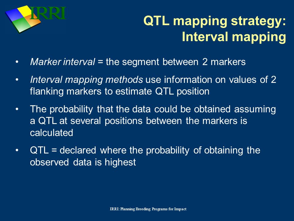 IRRI: Planning Breeding Programs for Impact Marker interval = the segment between 2 markers Interval mapping methods use information on values of 2 flanking markers to estimate QTL position The probability that the data could be obtained assuming a QTL at several positions between the markers is calculated QTL = declared where the probability of obtaining the observed data is highest QTL mapping strategy: Interval mapping