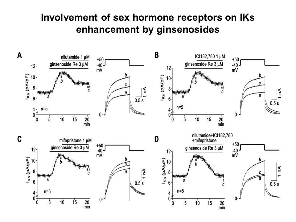 Involvement of sex hormone receptors on IKs enhancement by ginsenosides