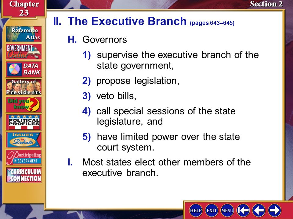 Section 2-8 II.The Executive Branch (pages 643–645) In which role does the governor of your state perform best.
