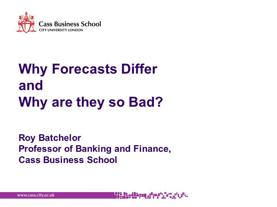 Why Forecasts Differ and Why are they so Bad.
