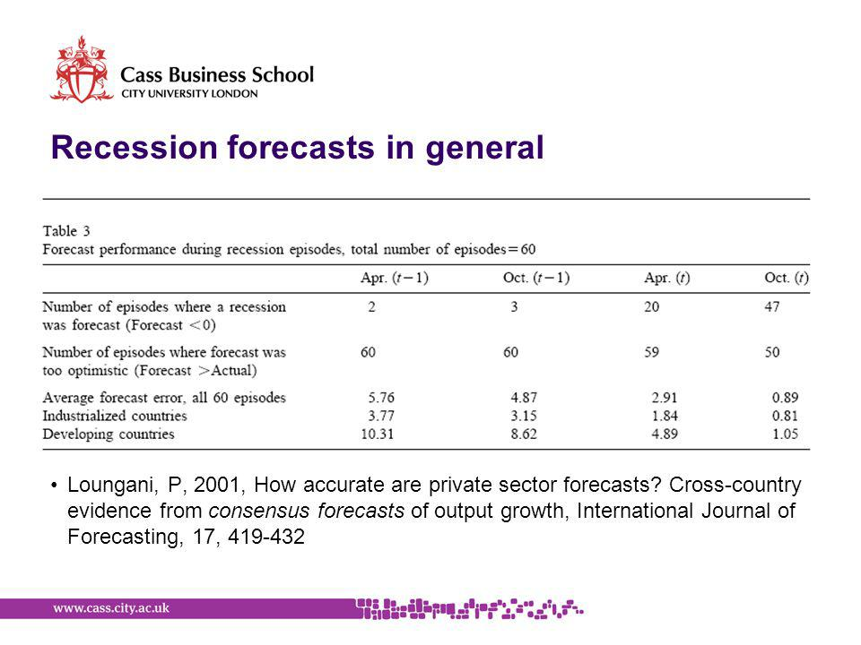 Recession forecasts in general Loungani, P, 2001, How accurate are private sector forecasts.