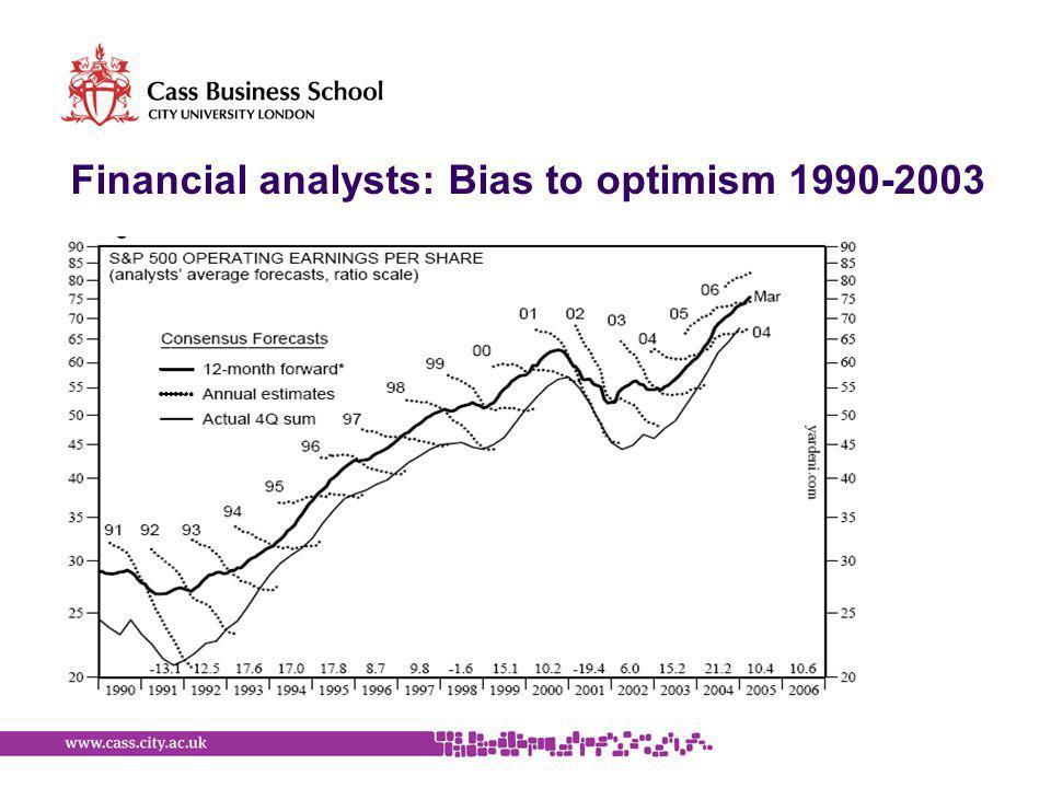 Financial analysts: Bias to optimism 1990-2003