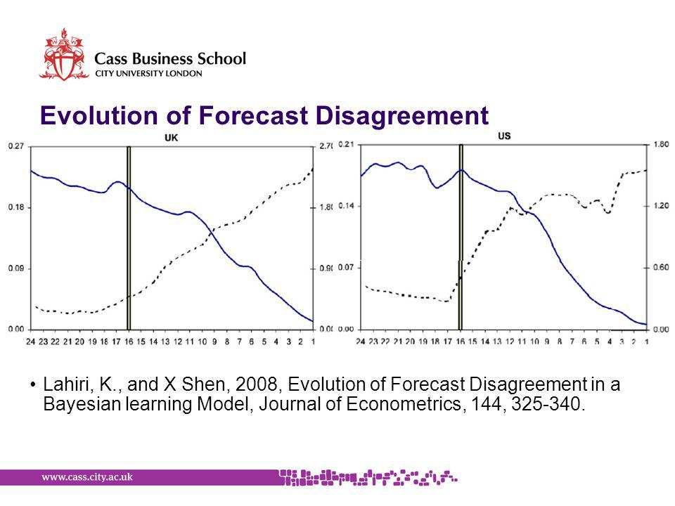 Evolution of Forecast Disagreement Lahiri, K., and X Shen, 2008, Evolution of Forecast Disagreement in a Bayesian learning Model, Journal of Econometrics, 144, 325-340.