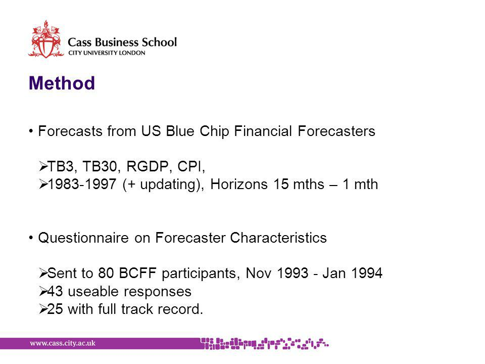 Method Forecasts from US Blue Chip Financial Forecasters  TB3, TB30, RGDP, CPI,  1983-1997 (+ updating), Horizons 15 mths – 1 mth Questionnaire on Forecaster Characteristics  Sent to 80 BCFF participants, Nov 1993 - Jan 1994  43 useable responses  25 with full track record.