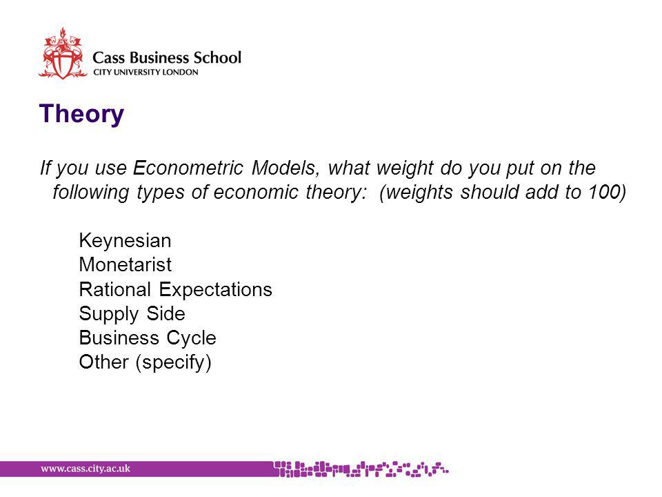 Theory If you use Econometric Models, what weight do you put on the following types of economic theory: (weights should add to 100) Keynesian Monetarist Rational Expectations Supply Side Business Cycle Other (specify)
