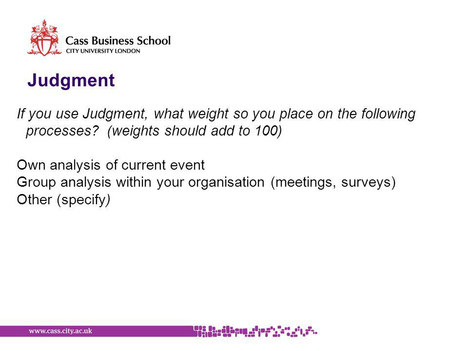 Judgment If you use Judgment, what weight so you place on the following processes.