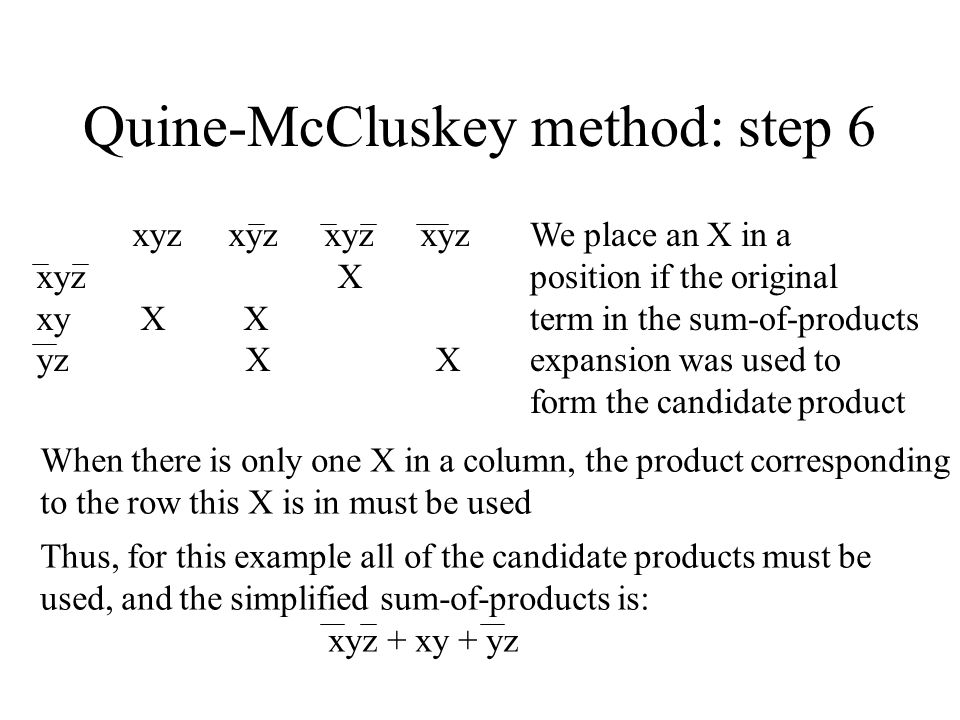 Quine-McCluskey method: step 6 xyzxyzxyzxyz xyz X xy X X yz X X We place an X in a position if the original term in the sum-of-products expansion was used to form the candidate product When there is only one X in a column, the product corresponding to the row this X is in must be used Thus, for this example all of the candidate products must be used, and the simplified sum-of-products is: xyz + xy + yz