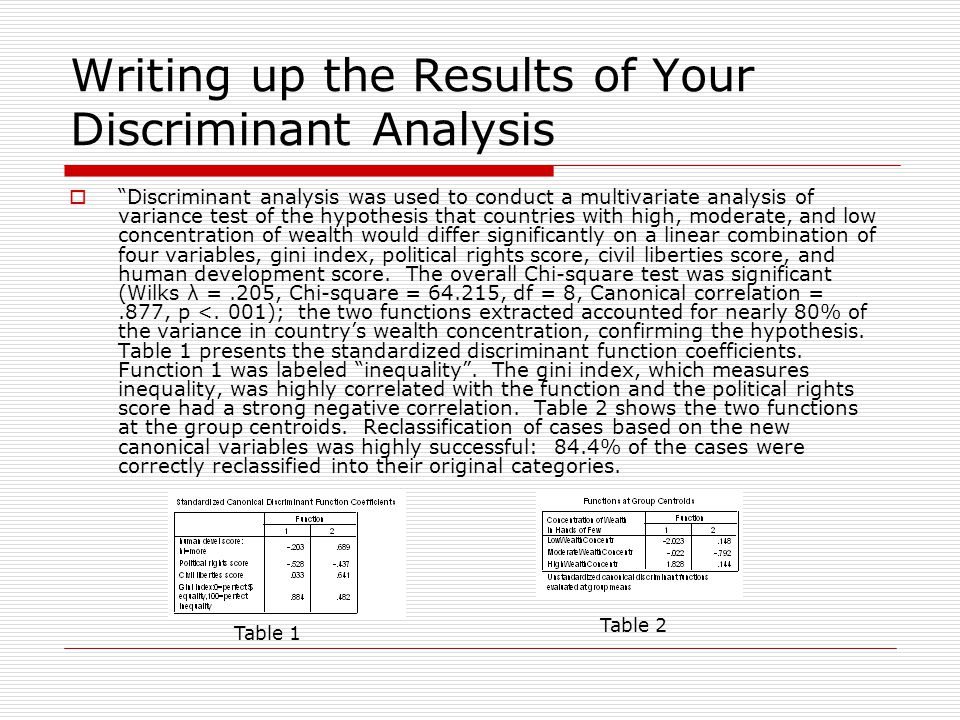 Writing up the Results of Your Discriminant Analysis  Discriminant analysis was used to conduct a multivariate analysis of variance test of the hypothesis that countries with high, moderate, and low concentration of wealth would differ significantly on a linear combination of four variables, gini index, political rights score, civil liberties score, and human development score.