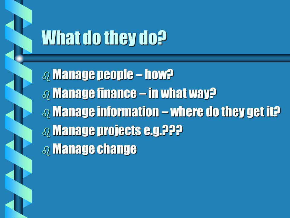 What do they do? b Manage people – how? b Manage finance – in what way? b Manage information – where do they get it? b Manage projects e.g.??? b Manag